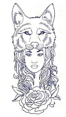 Picture of Wolf Girl Free Embroidery Pattern