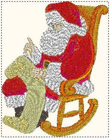 Rocking Chair Father Christmas Embroidery Pattern