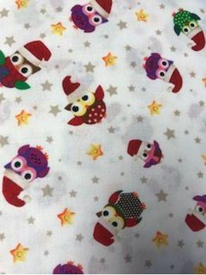 Picture of Owl Print Christmas Fabric