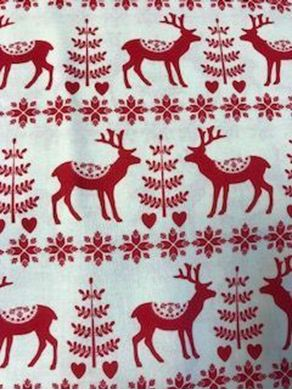 Picture of Red Scandi Print Christmas Fabric