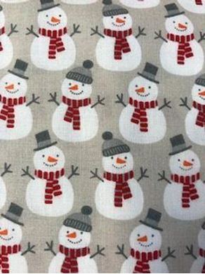 Picture of Snowman Print Christmas Fabric
