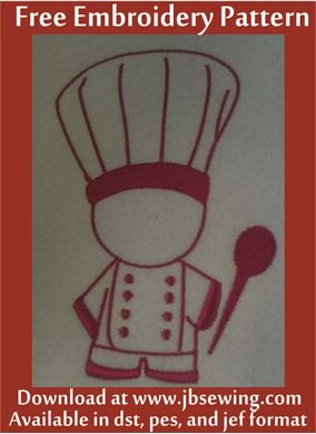 Picture of  Chef Free Embroidery Pattern