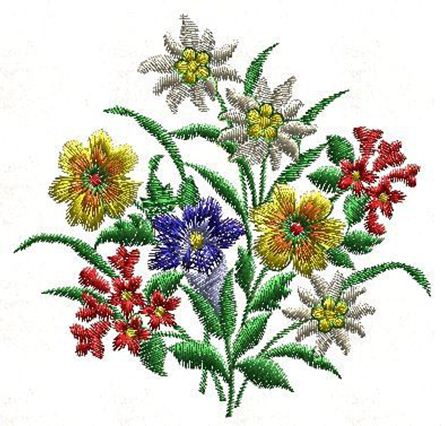 Picture of Flower Bouquet Free Embroidery Pattern