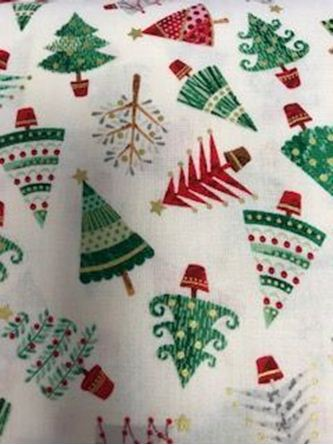 Picture of Makower Christmas Tree print fabric