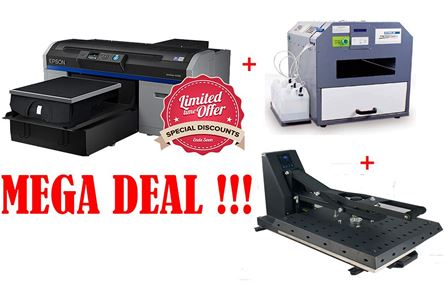 Picture of Epson SC-F2100 DTG Printer & Schulze Pre-treatment Machine Basic +Automatic  Heat press