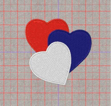 Picture of Red Blue White Heart Free Embroidery Pattern
