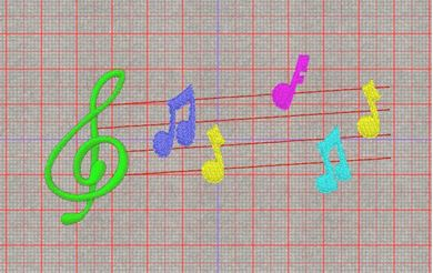 Picture of Musical Notes Free Embroidery Pattern