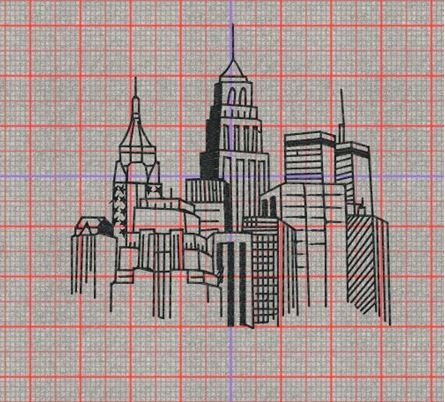 Picture of Skyline Free Embroidery Pattern