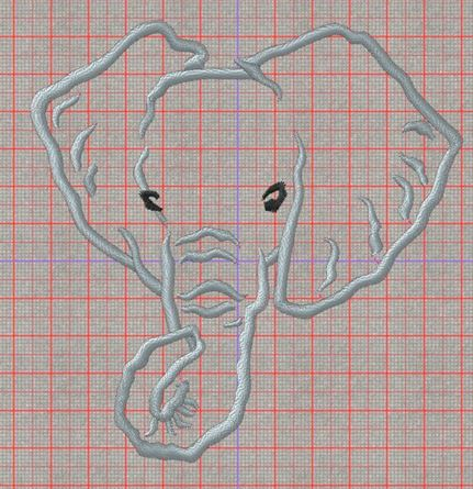 Picture of Elephant Applique Free Embroidery Pattern