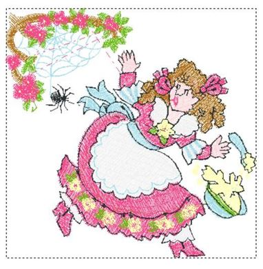 Picture of Little Miss Muffet Free Embroidery Pattern
