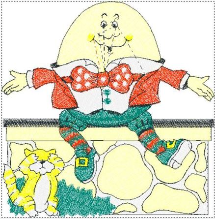 Picture of Humpty Dumpty Free Embroidery Pattern