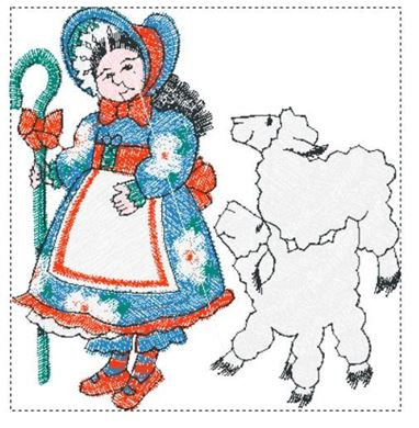 Picture of Little Bo Peep Free Embroidery Pattern