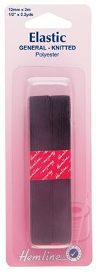Picture of General Purpose Knitted Elastic: 2m x 12mm: Black