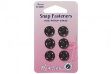 Picture of Snap Fasteners: Sew-on: Black: 13mm: Pack of 6