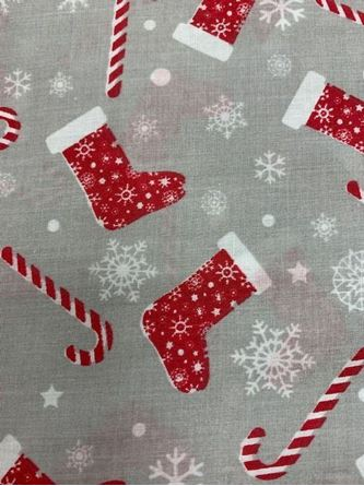 Picture of Christmas Candy Canes and Stocking Print Fabric