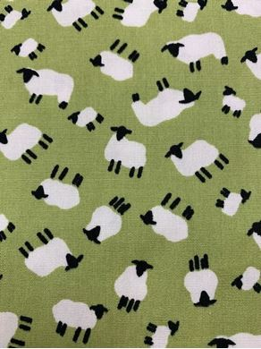 Picture of 50cm Green Sheep Fabric - SALE Fabric