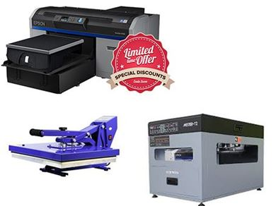 Picture of Epson SC-F2100 DTG Printer, Ecofreen T2 Pre-treatment Machine & Heat Press