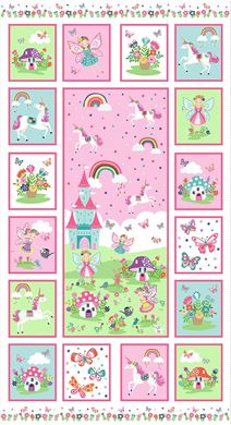 "Picture of Multi Star Daydream Panel by Makower 2282 TP Color 1 Unicorns- Castles-Fairies 24"" x 44"""