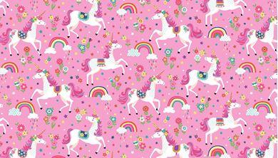 Picture of Multi Stars Unicorns Pink. Daydream.  Makower fabric code 2275 P.