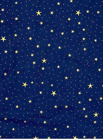 Picture of Luxury DENIM Foil STARS Fabric Material - BLUE