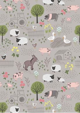 Picture of Lewis & Irene - Piggy Tales A531.2 farmyard on mid grey