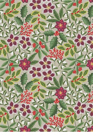 Picture of Lewis & Irene - Noel C68.1 christmas floral on linen